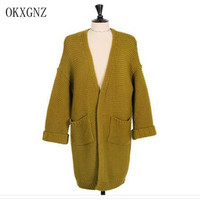 OKXGNZ Korea Style Women Sweater Cardigan 2017 Spring Long Loose Bat sleeves Knitted Cardigan Leisure Thick Women's Coat HY10