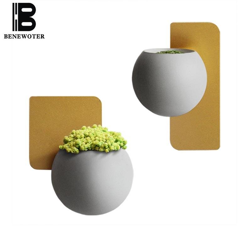 Creative Main Ciment Mur Vase Pendentif Accueil Salon Décoration Artisanat Plantes En Pot Brève Bougie Titulaire Jardin Pot De Fleur