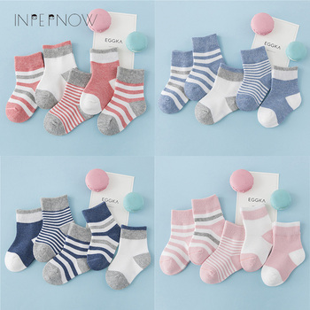 INPEPNOW 5 Pair/lot Baby Boy Striped Socks Soft Cotton Infant Socks Cute Cartoon Pattern Kids Socks Winter For Girl WZ-CZX53 1