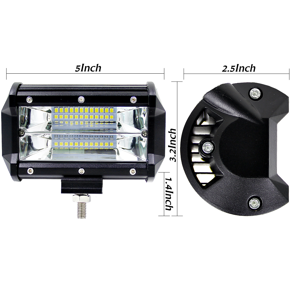 5'' Inch 72W LED Work Light Bar Flood Driving Lamp For Jeep Truck Boat Offroad (3)