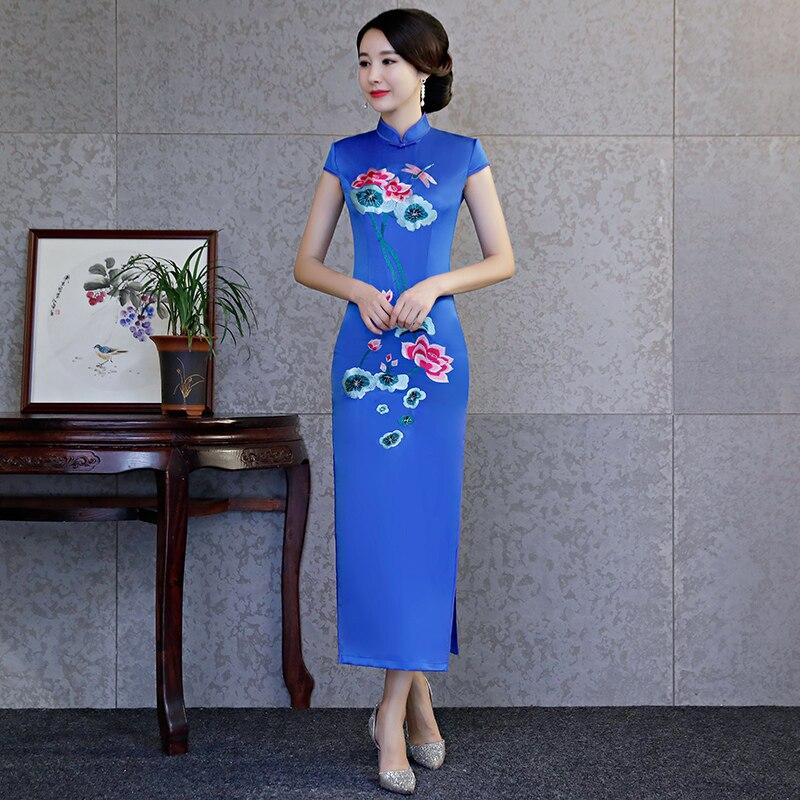 8e8d76bd4bb8 Del 2019 Estate rosso Da Partito Collare Rayon Dell annata Lungo colore S Delle  Ricamo Blu Stile Di Mandarino Vestido Vestito ...