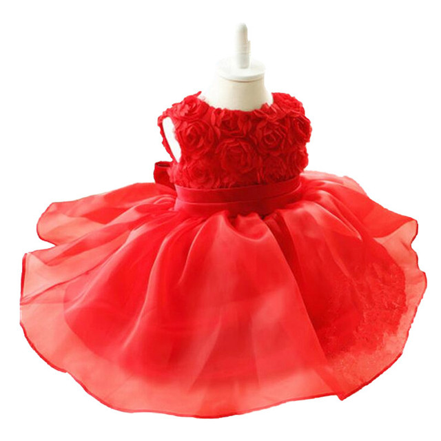 2017 New Toddler Vestido Infant Baby Girl Dress Rose Floral Girl Party Outfits Tutu Newborn Wedding for 0-24M Birthday Dress