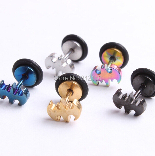 SaYao 10pcs Fashion Earring,mixed colors Stainless Steel Bat Stud Earrings with O rings  ...