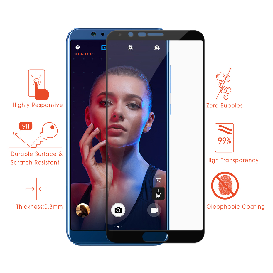 2 Pack 100 Original BUJOO 2 5D 0 3mm 9H HD Full Cover Screen Protector Tempered Glass For Huawei Honor V10 View10 View 10 Film in Phone Screen Protectors from Cellphones Telecommunications