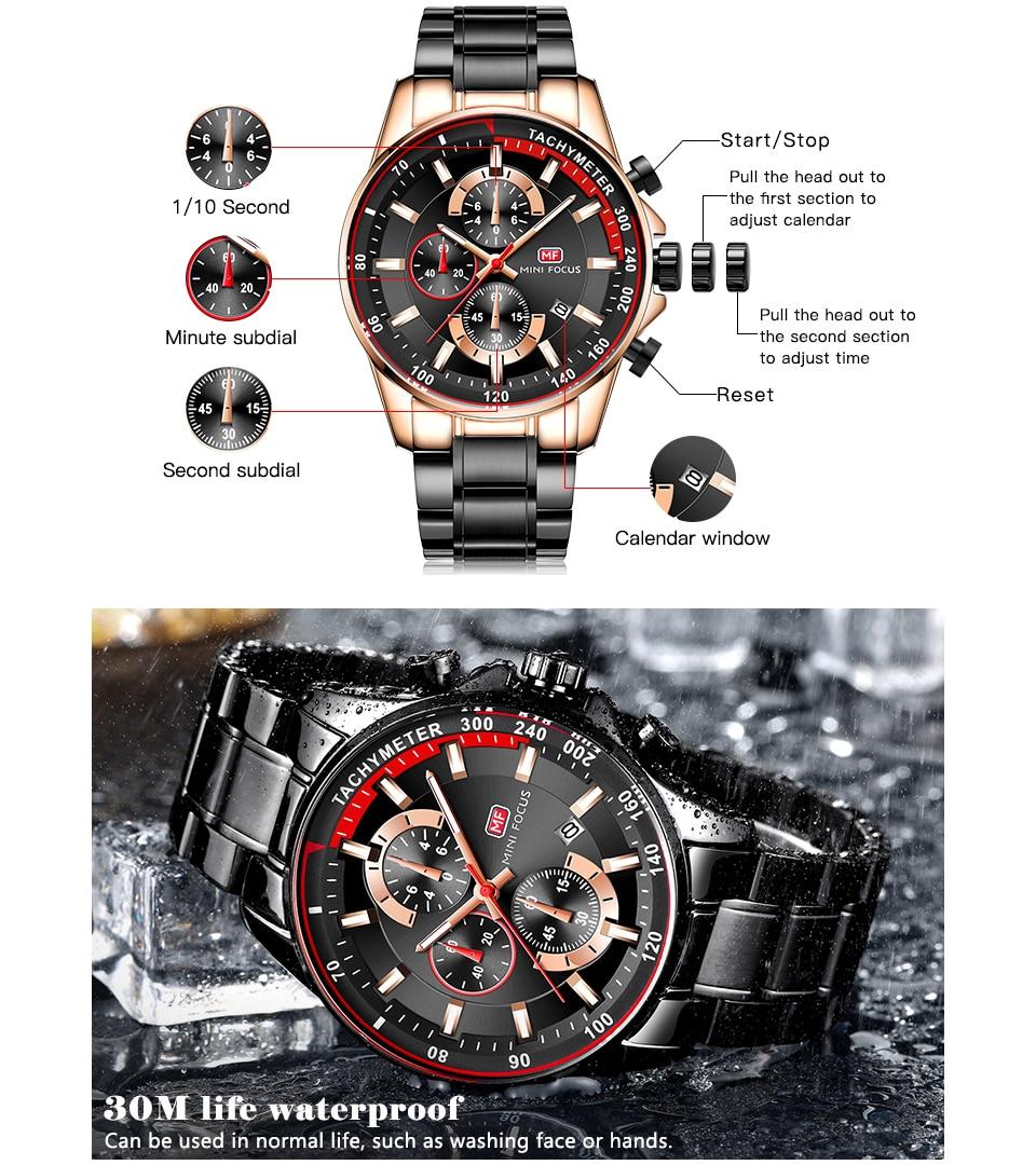 Image 3 - MINI FOCUS 2019 mode bleu montre hommes Quartz horloge métal bracelet multifonction calendrier sport hommes montres haut marque de luxeMontres à quartz   -