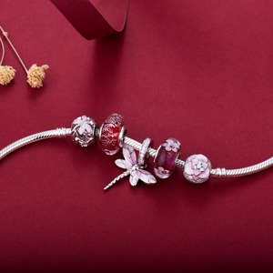 Image 3 - Pink dragonfly style beads  925 Sterling Silver beads charms fit Bracelets Never change color DDBJ018 F