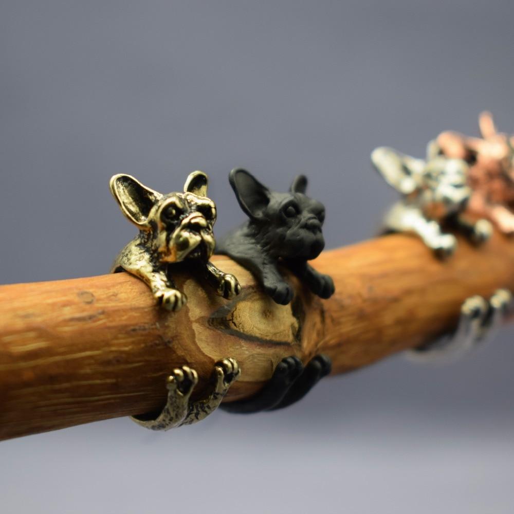 Hearty Drop Shipping Vintage Retro Cute French Bulldog Rings Adjustable French Bulldog Dog Jewellery Rings Women Men