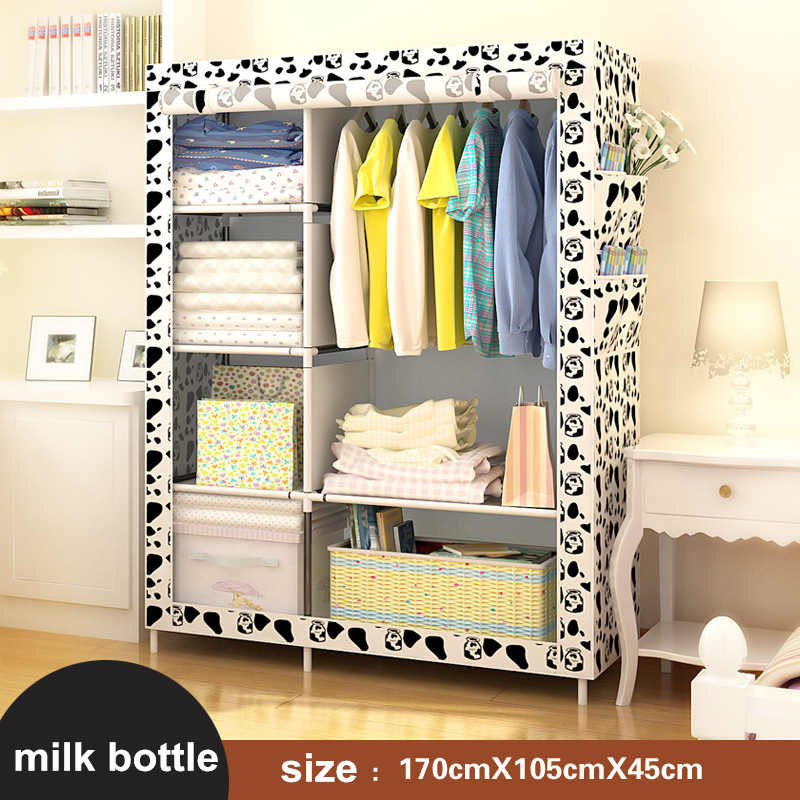 DIY Assamble Simple Folding Portable Clothes Closet Non-woven Wardrobe Fabric Clothes Storage Organize Cabinet wardrobe closet large and medium sized wardrobe cabinets simple folding reinforcement receive stowed clothes store content ark