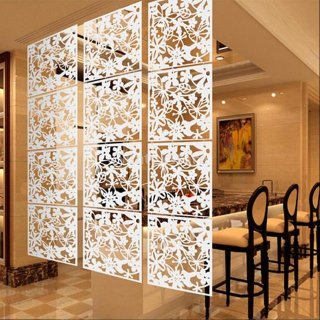 4x Bird Flower Hanging Screen Parion Divider Home Room Wall White