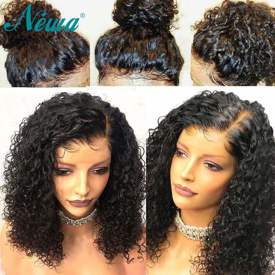 Newa Hair 360 Lace Frontal Wig Pre Plucked With Baby Hair Brazilian Curly Lace Front Human