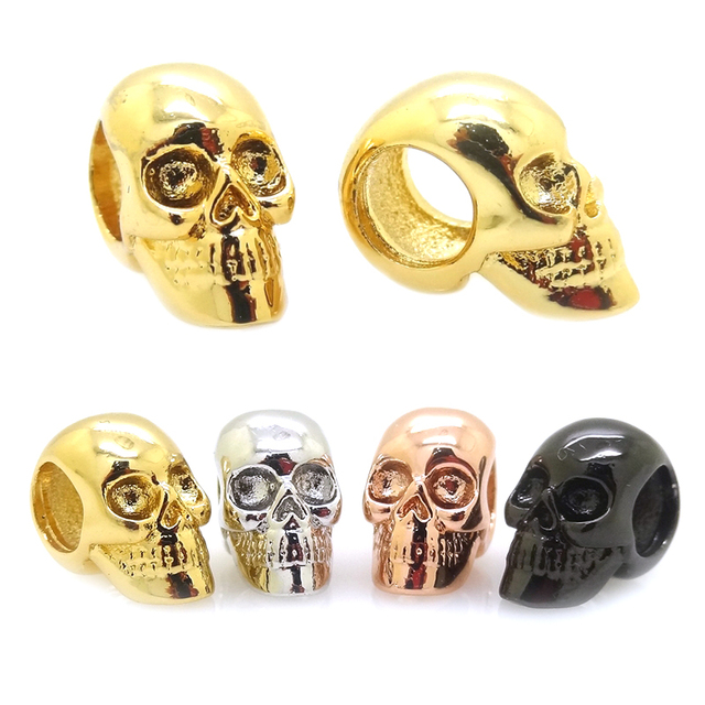 New Skull Head Metal BeadSilver Black Gun Rose Gold Gold Color