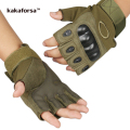 Kakaforsa Men Microfiber Fingerless Gloves High Quality Antiskid Solid Male Mittens Casual PU Print Army Green Glove