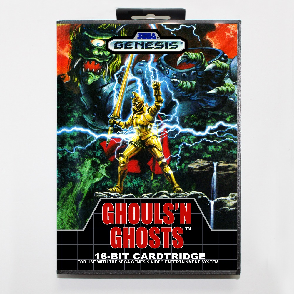 New 16 bit MD game card - ghouls'n ghosts with Retail box For Sega genesis system