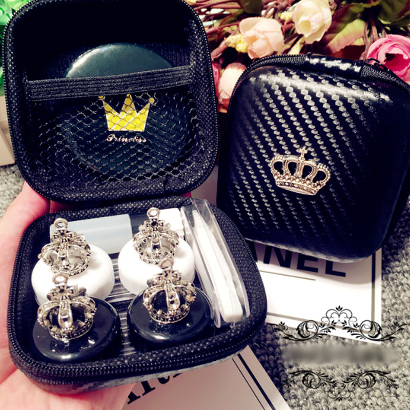Lovely Handmade Crown Contact Lens Case Set With Mirror Trav