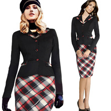 2015 Women Summer Elegant Belted Tartan Patchwork Sexy Long Sleeve Slim Plaid Bodycon Hot Party Pencil OL Dress