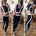 2PCS Women Lady Summer Casual Fashion Sportswear Tracksuit sexy short crop top+ skinny long pants