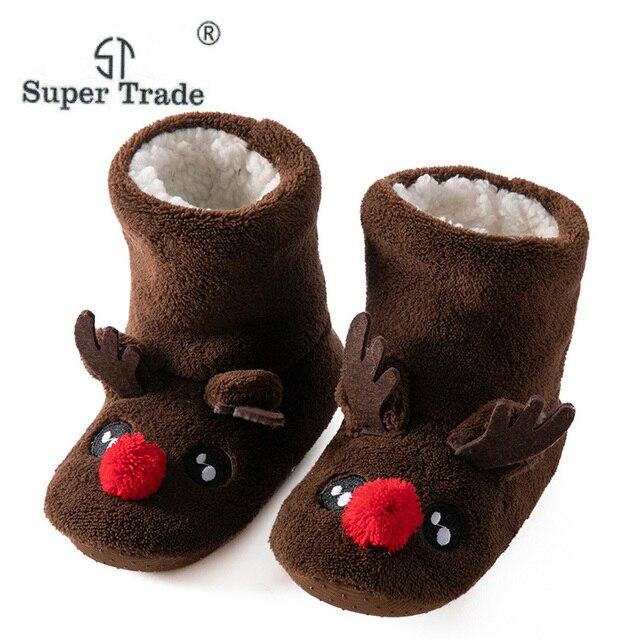 Children Christmas Gift Indoor Slippers Shoes Winter Kids Boys Girls House Boot Socks Fashion Soft Plush Warm Cute Cartoon Shoes