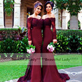 New Burgundy Long Sleeve Bridesmaid Dress 2016 Sexy Boat Neckline Off The Shoulder Lace Chiffon Mermaid Bridesmaid Gowns Long