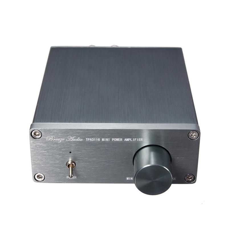 Breeze Audio HiFi Class 2.0 Audio Stereo Digital Power Amplifier TPA3116 Advanced 2*50W Mini Home Aluminum Enclosure amp New