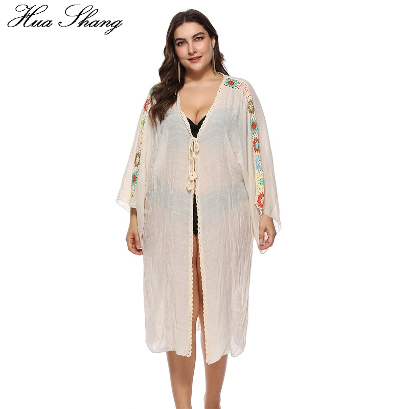 White Plus Size Beach Cover Up Women Summer V Neck Embroidery Floral Long Sleeve Tunic <font><b>Dress</b></font> <font><b>Transparent</b></font> <font><b>Sexy</b></font> Long <font><b>Dresses</b></font> image