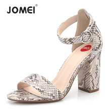 Women Ankle Strap Sandals Snake Print Square heel Fashion Pointed toe Ladies shoes 2019 New