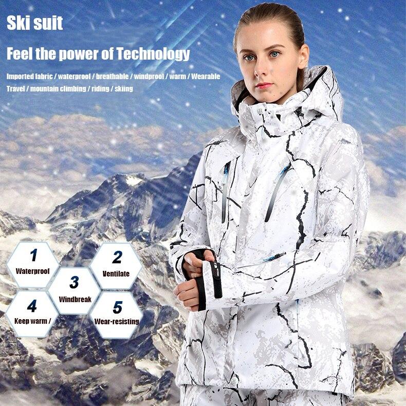 Hiver chaud femmes Ski costume Snowboard veste et pantalon en plein air Ski chasse Treking imperméable coupe-vent thermique Set fret gratuit