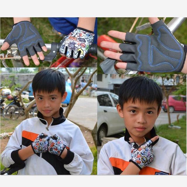 Promoção verão crianças luvas de ciclismo metade dedo skate equitação mountain bike esportes ao ar livre luvas para meninos e meninas crianças 2