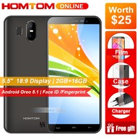 HOMTOM S17 Android 8.1 Quad Core 5.5 18:9 Full Screen Smartphone Fingerprint Face Unlock 2GB RAM 16GB ROM 13MP+8MP Mobile Phone