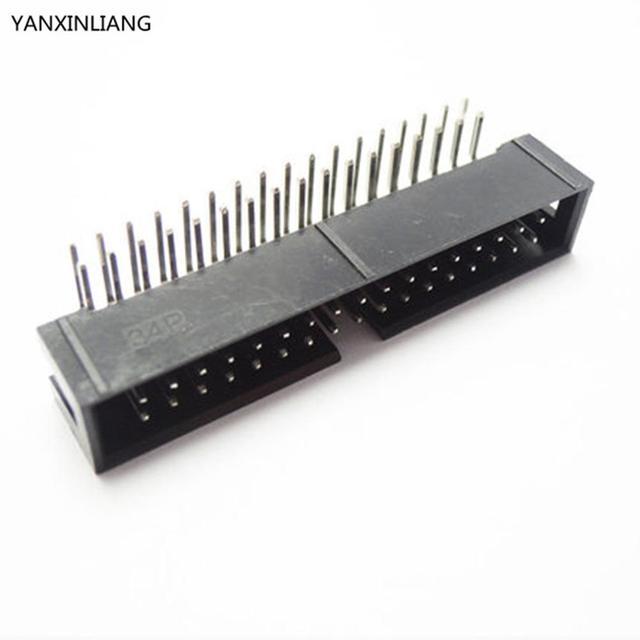 10 PCS DC3 34 Pin 2x17Pin Angle Droit Double Rangée Pitch 2.54mm Double-espacées Broches Mâle IDC Socket Box-Tête Haute qualité