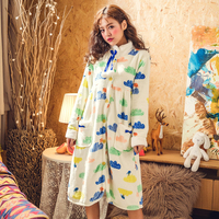 Woman Sleepshirts Flannel Winter Thick Cure Button Cloud Warm Full Lovely Female Nightgowns Home Wear High Quality New BANNIROU