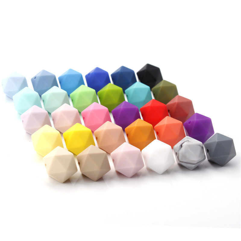 50pcs 14mm Silicone Icosahedron Teething Beads Bpa Free Baby Teether Necklace Bracelet Accessories Infant Nursing Pacifier Chain