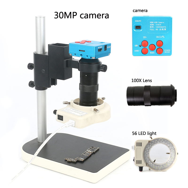 2019 30MP 1080P Industrial Digital Video Microscope Camera 100X C Mounting Lens 56 LED Ring Light
