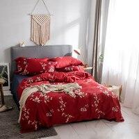 Blumen drucken Moderne stil bettwäsche set Ägyptischen baumwollgewebe Königin König Größe rote bettbezug flaches blatt kissenbezug