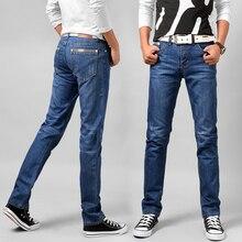 d79e1e340c Pantalones vaqueros de algodón para hombre azul 2017 nueva moda Casual de  negocios pantalones vaqueros masculinos