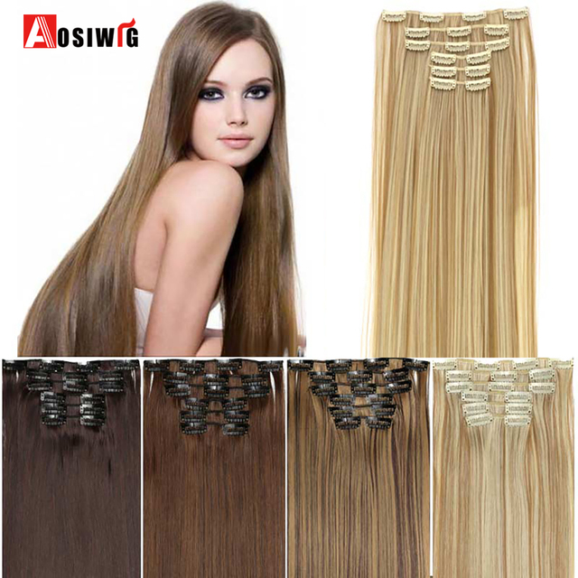 Aliexpress Buy Aosiwig 24 Long Straight Hair Extension 6 Pcs