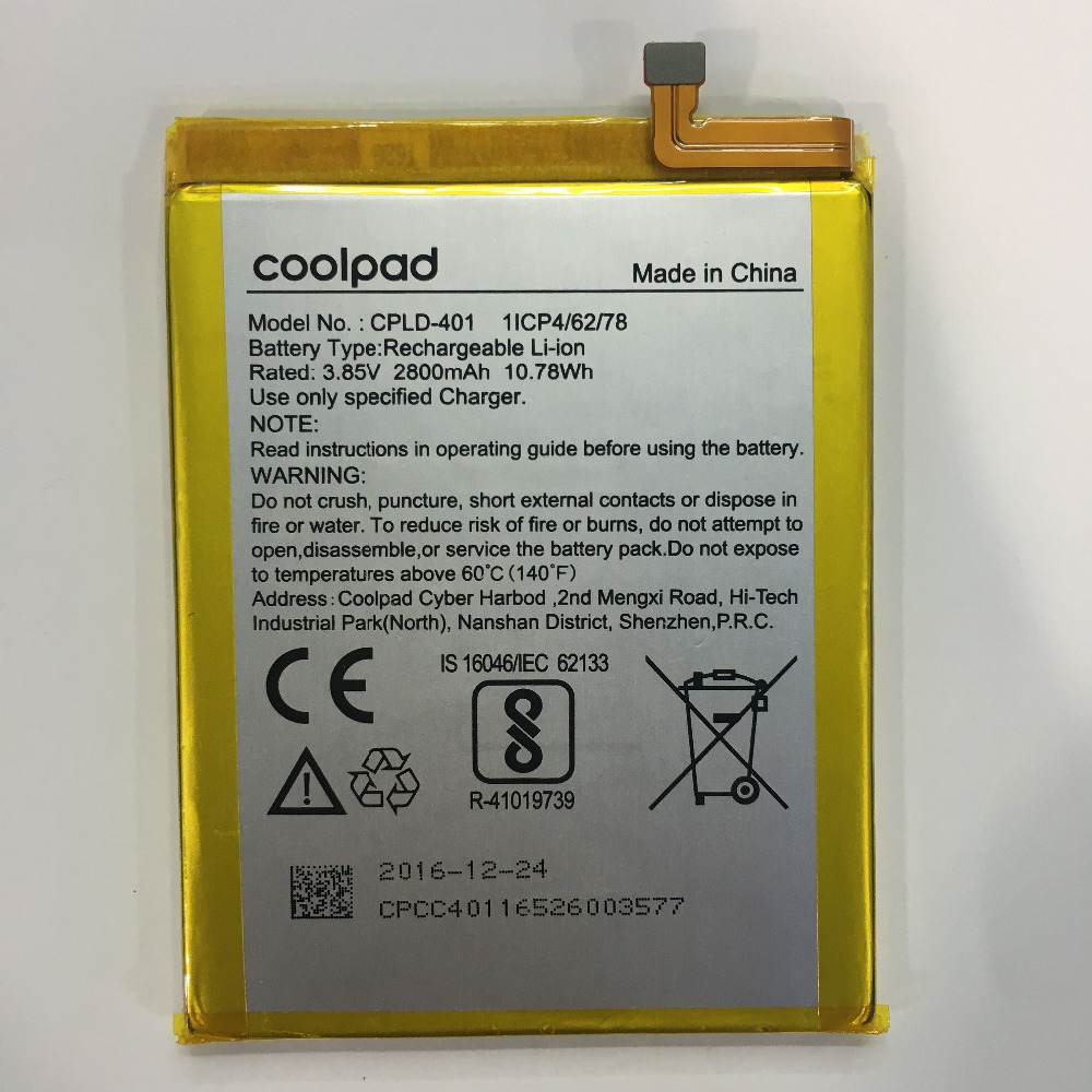 New 2800mAh/10.78Wh 3.85V CPLD-401 Replacement Battery For Coolpad Smart Phone Rechargeable Battery Inbuilt BatterieNew 2800mAh/10.78Wh 3.85V CPLD-401 Replacement Battery For Coolpad Smart Phone Rechargeable Battery Inbuilt Batterie