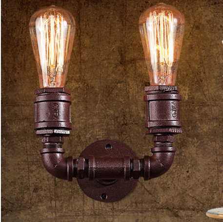 Loft Style Vintage Wall Lights For Home Antique Light Metal Industrial Water Pipe Lamp Bedside Edison Wall Sconce Arandela free shipping cy041 loft vintage style metal painting home pendant lights lamp