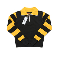 BOB DONG Moto Biker Style Heavyweight Fabric Men's 1/2 Zipper Striped Sweatshirt