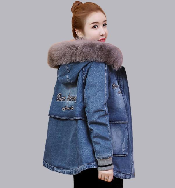 rembourré Manteaux 2019 Femmes Jacket Coton Vestes Épaissie Mode 1 Chaud Manteau Denim Mujer Agneaux Laine Jean 4 Hiver Splice Femme fTq6rf