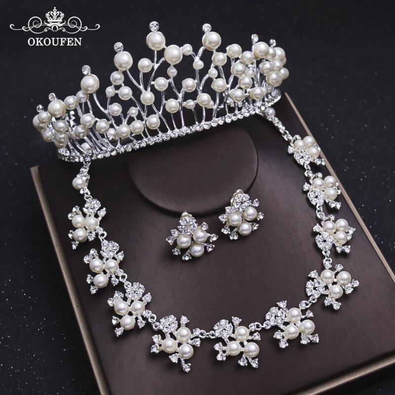Потрясающие жемчуг Diamond Свадебные украшения для волос набор Диадемы серьги и Цепочки и ожерелья 2018 Для женщин вечерние заставки аксессуары