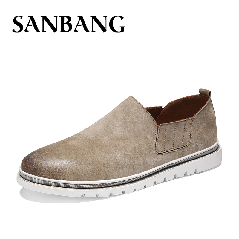 2018 Brand Fashion Casual Shoes Men Suede Leather Vintage Leisure Desert Vintage  Men Shoes Casual Slip On Soft Male Loafers RX5