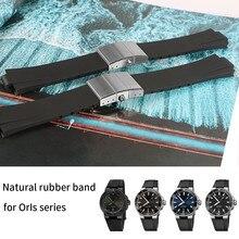 עמיד למים רצועת השעון גומי סיליקון רצועת עבור Oris שעון צלילה ספורט Watchstrap שחור עבור AQUIS צמיד 24*11mm כפול אבזם