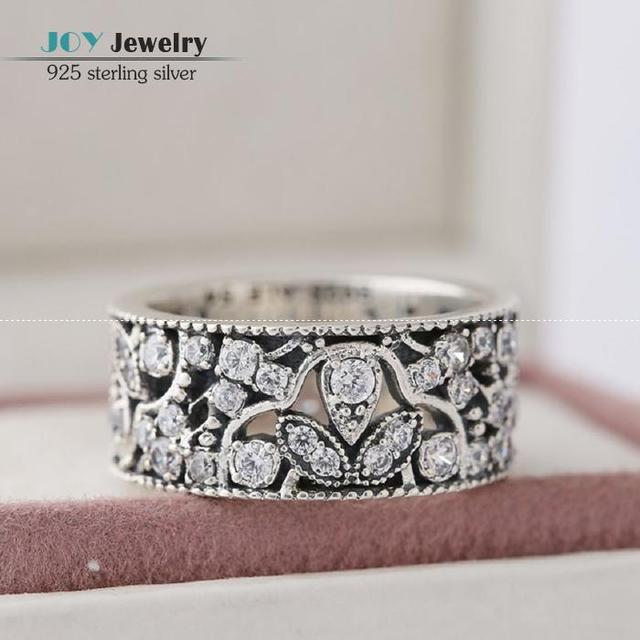 2016 Autumn  Shimmering Leaves Rings With Zirconia Pave Authentic 925-Sterling-Silver Rings For Women Fit European Style Jewelry