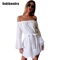Sukibandra New Summer Off Shoulder Woman Cotton Lace Dress 2017 Long Flare Sleeve Women Short White Dress Casual Strapless Dress