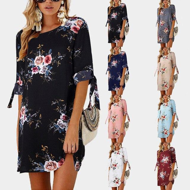 7bb69da4a7778 2018 Women Summer Dress Boho Style Floral Print Chiffon Beach Dress Tunic  Sundress Loose Mini Party Dress Vestidos Plus Size 5XL