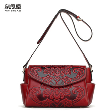 Famous brand top quality Cow Leather women bag new small square bag embossed totem Hugh leisure fashion shoulder Messenger Bag