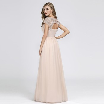 New Elegant Lace Long Prom Dresses 2020 A-Line O-Neck Short Sleeve Sexy Women Formal Evening Party Gowns Vestidos De Gala 2020 2