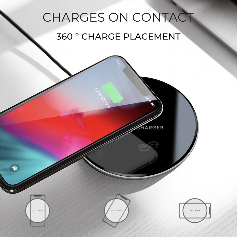 Image 2 - iONCT qi Wireless Charger for iPhone X XR XS Max 8 USB wirless Charging for Samsung Xiaomi Huawei phone Qi charger wireless pad-in Mobile Phone Chargers from Cellphones & Telecommunications