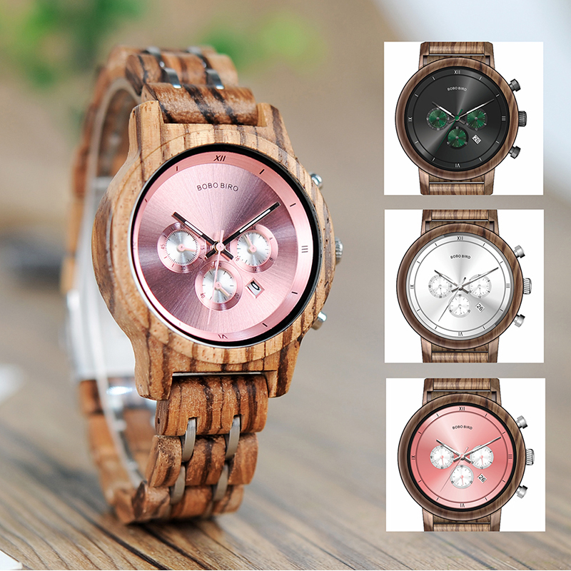 BOBO BIRD Women Watches Wooden ladies Quartz wrist watch Stopwatch Gift for Girl Friend in wood box saat erkek clock bobo bird wh05 brand design classic ebony wooden mens watch full wood strap quartz watches lightweight gift for men in wood box
