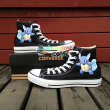 Converse Original Custom Design Anime Shoes Pokemon Wartortle Hand Painted Canvas Sneakers Men Women Brand Skateboarding Shoe